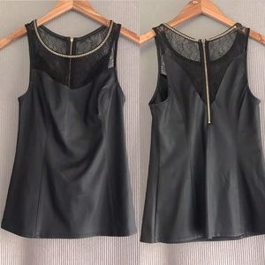 EXPRESS black faux leather lace panel top gold zip